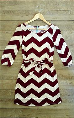 Maroon and white chevron dress with knee brown boots!