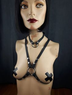 Items similar to Harness Leather / Body Harness / Simple O-Ring Bikini Harness Black on Etsy Leather Harness, Leather Accessories, Vegan Leather, Halloween Face Makeup, Ring, Trending Outfits, Simple, Unique Jewelry, Etsy