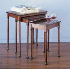 NESTING TABLES by Classic Accents. $123.76. Birch Veneer. Solid Wood Legs. Cherry Finish. 24w x 18d x 30. Classic Accents: A truly inviting selection of Classic Accent Furniture FEATURING Console Sofa Tables Wooden Wine Magazine Racks, Nesting Tables, and Glass Cherry Curio Cabinates.