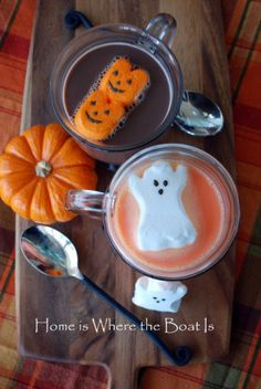 Ghostly Peeps Hot Chocolate and Brownies S'mores | Home is Where the Boat Is