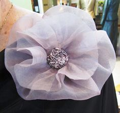 Silk flower with beaded center designed and handmade by maria lilac silk organza flower with beaded center handmade by maria antonieta couture in portland mightylinksfo