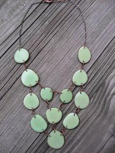 Light Mint Green Tagua nut bib style by veronicarileymartens, $78.00