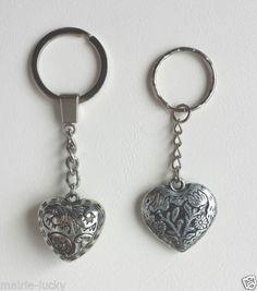 Silver-Keychain-Keychain-Love-Heart-Key-Chain-Gift-Two-design