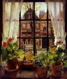 """dutch-and-flemish-painters: """"ohdarlingdankeschoen: """"https://www.pinterest.com/pin/396809417144045741/ """"The Sill"""" - Fernand Toussaint (Belgian, 1873-1956) """" Fernand Toussaint (1873–1956) was a Belgian..."""