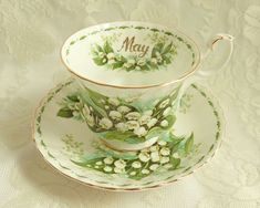 Vintage Royal Albert May Lily of the Valley Teacup Saucer Tea Cup Flower of the Month