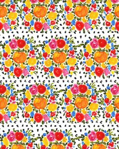 Orange and Flowers. #pattern #illustration