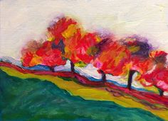 Hazy autumn evenings, a walk past the rusted purple trees. Painting on ready to hang canvas with acrylic paints and pastels. Abstract Landscape, Landscape Paintings, Abstract Trees, Abstract Art, Landscapes, Purple Trees, Paintings For Sale, Original Art, Autumn