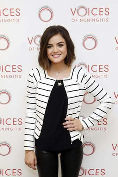 I heart Lucy Hale. Her style is unique. Love this outfit and haircut! Just jacket is very cute with tight black pants!