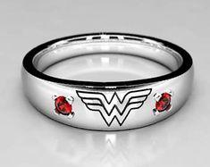Wonder Woman Wedding band in Silver or White Gold with Ruby, Size 9 Ring, Size 10 ring, Size 4 Ring, Wonder Woman Geek Ruby Wedding Ring