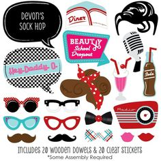 The perfect photo booth begins with fabulous photo booth props. Our printed and cut kit will help you easily create fun party photos at your next party. This Sock Hop party photo booth props kit come with 20 pieces, one of which is personalized, and Diner Party, Party Fiesta, Retro Party, Fifties Party, 1950s Party, 1950s Rock And Roll, Rock N Roll, 50s Dance, 50s Theme Parties