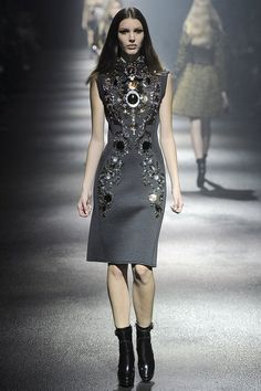 The Look: bejeweled grey dress and sleek hair Lanvin Fall 2012