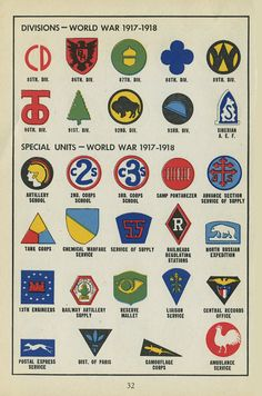 Check out this handbook for wartime citizens, which describes and illustrates the insignias and graphics used by the various divisions of the armed forces. Military Ranks, Military Insignia, Military History, Military Aircraft, Airborne Army, Us Army Patches, Camouflage Patterns, Popular Cartoons, Felix The Cats