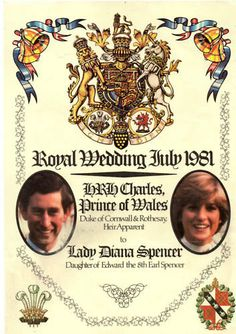 .The wedding program of Prince Charles and Lady Diana Spencer.