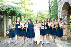 Navy blue and pink wedding details - bridemaids