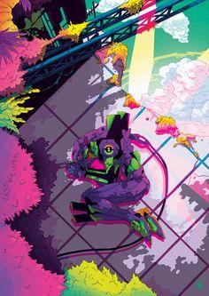 Neon Genesis Evangelion - Unit 01 by Niamh Bennett Neon Genesis Evangelion, Manga Anime, Manga Art, Anime Art, Another Anime, Concept Art, Character Design, Illustration Art, Art Prints