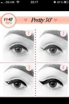 Easy way to apply winged eyeliner. Applying winged eyeliner has always been a task for me. Then i started using this technique, it really wo. hacks for teens girl should know acne eyeliner for hair makeup skincare 1950 Makeup, Vintage Makeup, 1950s Hair And Makeup, Retro Makeup, Perfect Winged Eyeliner, Winged Liner, Pin Up Eyeliner, Eye Liner, 1950s