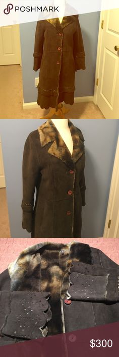 Natural shearling coat Natural shearling coat made in Turkey from the finest sheep. Very soft and cozy with beautiful lace like cut design. I purchased this rare one of a kind piece at a boutique on 5th avenue in Manhattan   Absolutely mint condition. Jackets & Coats
