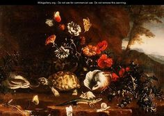 Thistles, Flowers, Reptiles and Butterflies Beside a Pool - Paolo Porpora Thistle Flower, Reptiles, Still Life, Projects To Try, Butterfly, Gallery, Thistles, Flowers, Painting