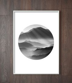 Mountains Print, Nordic Wall Art, Scandinavian Poster, Monochrome Decor, Art Prints for the walls of your home by Little Ink Empire