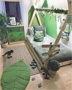 Dinosaur little boy's room Jungle dinosaur kids room Boys Dinosaur Bedroom, Dinosaur Kids Room, Dinosaur Room Decor, Boy Toddler Bedroom, Toddler Rooms, Baby Boy Rooms, Kids Bedroom, Boys Jungle Bedroom, Boy Bedrooms