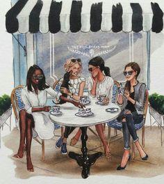 Artist: inslee haynes i love this drawing. tea shop in paris friends illustration, Black Girl Art, Black Women Art, Black Art, Art Girl, Best Friend Drawings, Bff Drawings, Friends Illustration, Illustration Mode, Buch Design