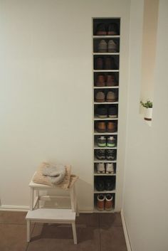 shoe storage between studs from @theseanamethod