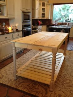 DIY Farm house table or island.  Step by step instructions with pictures! ~ Re-made just right