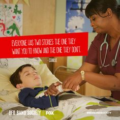 """Everyone has two stories: the one they want you to know and the one they don't."" #redbandsociety WED 