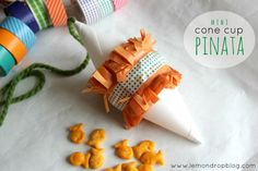 Individual or just less mess. Mini Pinatas, Paper Cones, Tom And Jerry, Birthday Parties, Birthday Ideas, Washi Tape, Diy, Party Ideas, Summer