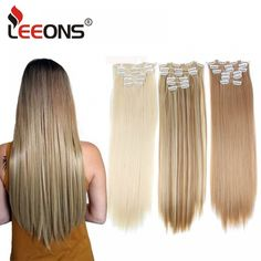 Leeons 16 colors 16 clips Long Straight Synthetic Hair Extensions Clips in High Temperature Fiber Black Brown Hairpiece - THC Clip In Extensions, Synthetic Hair Extensions, Mega Hair Tic Tac, Texas Hair, Hair Extension Clips, Natural Hair Styles, Long Hair Styles, Full Hair, Bohemian Hairstyles