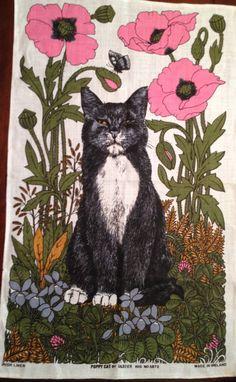 """Linen Vintage Tea Towel """"Poppy Cat""""  made in Ireland"""