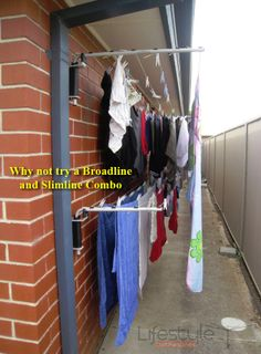 Trendy Diy Clothes Line Clotheslines 65 Ideas - DIY Clothes Sweater Ideen Drying Rack Laundry, Clothes Drying Racks, Laundry Room Design, Laundry In Bathroom, Space Saving Furniture, Home Decor Furniture, Outdoor Clothes Lines, Outdoor Laundry Rooms, Drying Room