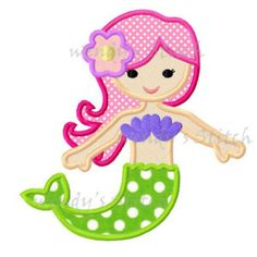 instant download mermaid applique machine embroidery design