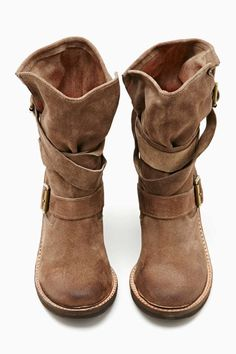 Jeffrey Campbell France Strapped Boot - Brown Suede. Ordering these tomorrow! Except in greyl