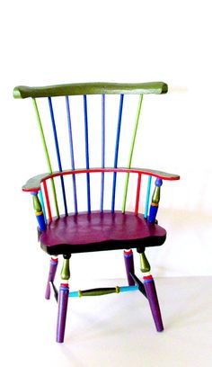 Windsor Style Doll Chair Hand Painted by PearlesPainting on Etsy, $98.00