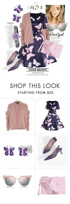 """Rosegal Butterfly Print Dress"" by oksanayusupova ❤ liked on Polyvore featuring River Island, Amanda Rose Collection, Fendi, Sophia Webster and Armitron"