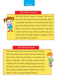 Writing skill - grade 2 - my best friend for your bestfriend English Grammar For Kids, English Lessons For Kids, Learn English Words, English Vocabulary, Phonics Reading, Reading Comprehension Worksheets, Reading Passages, Writing Topics, Kids Writing