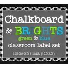 "Organize your classroom with chalkboard labels! This set is a ""blue & green"" theme with bright aqua, lime, turquoise, and mint.  Print only wha..."