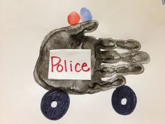 police car handprint | Handprint police cars! Haha I have to do this. ... | KID CRAFTS, HAND ...