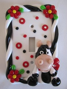 Cow Light Switch Cover,  standard switch, red/black