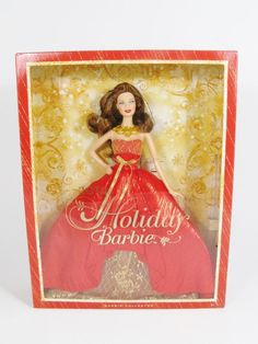 NRFB 2014  HOLIDAY Christmas Brunette  BARBIE Doll Collector Mattel Inc #Mattel #Dolls