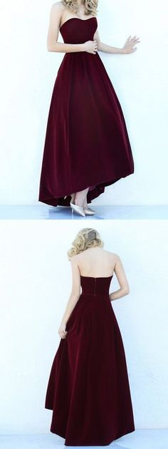 Modest High Low Burgundy Prom Gowns Wine Red Prom Dresses For Junior Teens