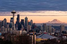 The Seattle skyline with Mt. Rainier in the distance. Image by Aaron Eakin / Getty