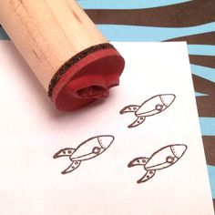 Retro 50s Rocket Rubber Stamp, Science Fiction, 60s Space, Sci Fi geekery on Etsy, $5.75