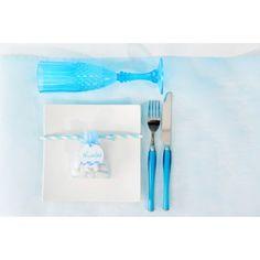 Chemin de table intissé bleu ciel 10 M déco ciel, blanc, turquoise
