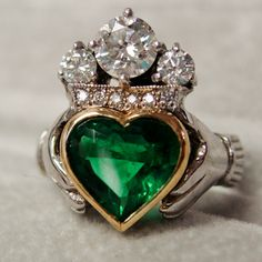 Heart ~ The Irish claddagh ring. The symbols are said to correspond to the qualities of love (heart), friendship (hands), and loyalty (crown). Meant as a friendship ring, promise ring, engagement ring, or wedding ring depending on which finger and hand you wear it on.