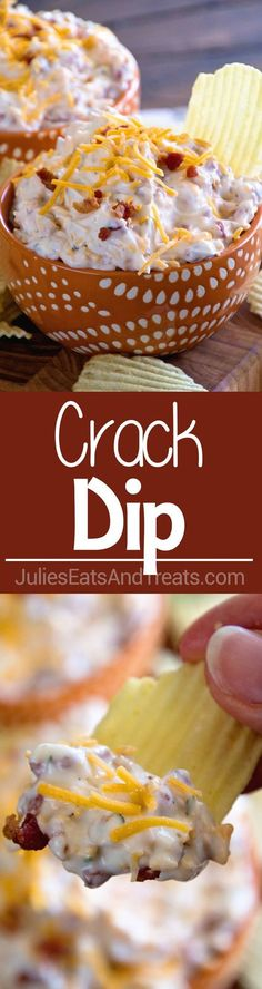 Crack Dip ~ Super Simple Chip Dip Loaded with Cheese, Bacon, Ranch and Sour Cream! via /julieseats/ Crack Dip ~ Super Simple Chip Dip Loaded with Cheese, Bacon, Ranch and Sour Cream! via /julieseats/ Snacks Für Party, Appetizers For Party, Appetizer Recipes, Snack Recipes, Cooking Recipes, Simple Appetizers, Cheese Dip Recipes, Fruit Dip Recipes, Party Games