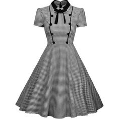 Missmay Women's Elegant Vintage 1940's Short Sleeve Plaid Swing Dress ($33) ❤ liked on Polyvore featuring dresses, white short sleeve dress, swing dress, short-sleeve dresses, white day dress and white dress
