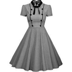 Missmay Women's Elegant Vintage 1940's Short Sleeve Plaid Swing Dress (€28) ❤ liked on Polyvore featuring dresses, white day dress, vintage dresses, tartan swing dress, tartan plaid dress and short sleeve dress