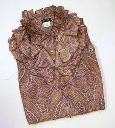 J CREW Ruffle-Collar Silk Blouse Shirt Top Sz 2 Sleeveless Mauve Paisley Print #JCrew #silkblouse #esmesdrawer